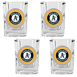 Oakland Athletics MLB 4pc Square Shot Glass Set