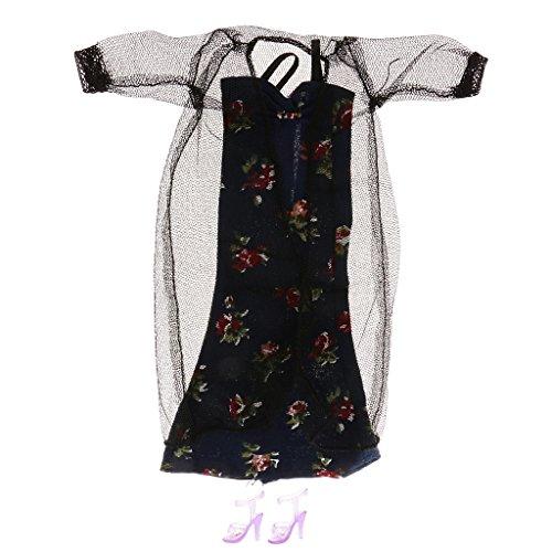 Dentelle Pyjamas Floraux Noirs Fixés Pour Poupées Barbie