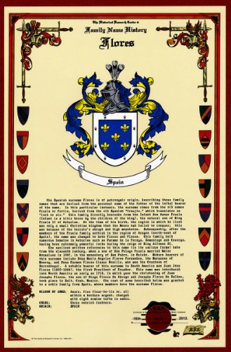 Flores Coat Of Arms/Crest And Family Name History, Meaning & Origin Plus Genealogy/Family Tree Research Aid To Help Find Clues To Ancestry, Roots, Namesakes And Ancestors Plus Many Other Surnames At The Historical Research Center Store front-495156