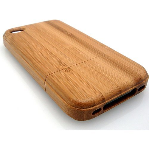 BONAMART ® Light Brown Luxury Unique Handmade Natural Wood Wooden Bamboo Hard Case Cover for iPhone 4 4s AT&T Verizon brown (Iphone 4 Wood Cover compare prices)