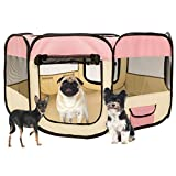 Oobest Welpenlaufstall Tierlaufstall Welpenauslauf Freilaufgehege Tierlaufstall Laufstall Welpenzaun für Kleintiere wie Hunde, Katzen (Rosa) -