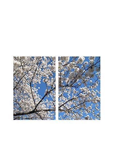 """Art Addiction White Cherry Blossoms Set of 2, Multi, 36"""" x 24"""""""