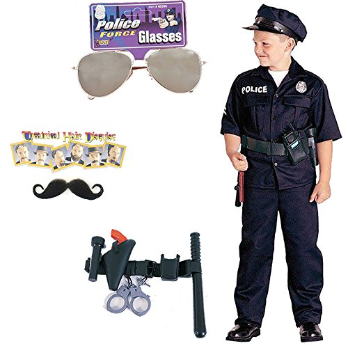 Police Officer Child Costume, Police Officer Belt, Sunglasses, Moustache (S)