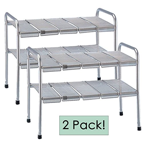 ... 2 Tier Expandable Adjustable Under Sink Shelf Storage Shelves Kitchen  Organizer