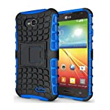 CaseMachinee Flip Kick Stand Hard Dual Armor Hybrid Bumper Back Case Cover For LG L70 D325 Dual Sim - Blue