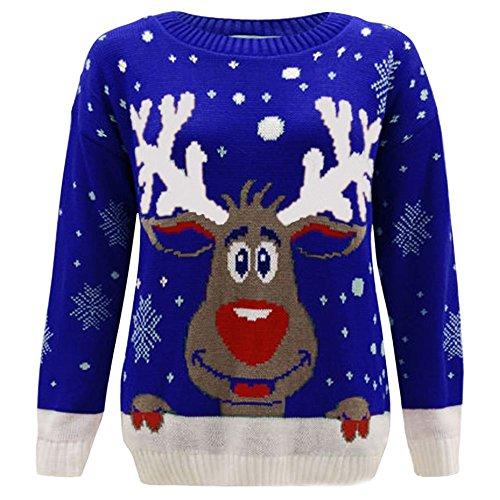 Janisramone Nuovo Da Uomo Da Donna Natale Renne Stampa Maglione a maniche lunghe Unisex Retro Natale Maglione Royal Blue - Reindeer S/M (40-42)