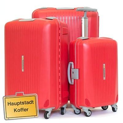 HAUPTSTADTKOFFER® · Three-piece hard-side suitcase Set RED mat · cabin luggage 43 liter + suitcase 87 liter + suitcase 130 liter · TSA combination lock from Hauptstadtkoffer®
