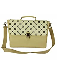The House Of Tara Faux Leather Women's Laptop Bag With Printed Flap (Cornhusk, HTMB 037)
