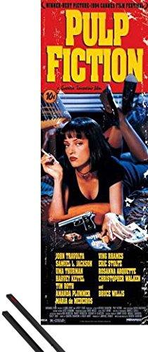 Poster + Sospensione : Pulp Fiction Door Poster (158x53 cm) Affisso, Quentin Tarantino e Coppia di barre porta poster nere 1art1®