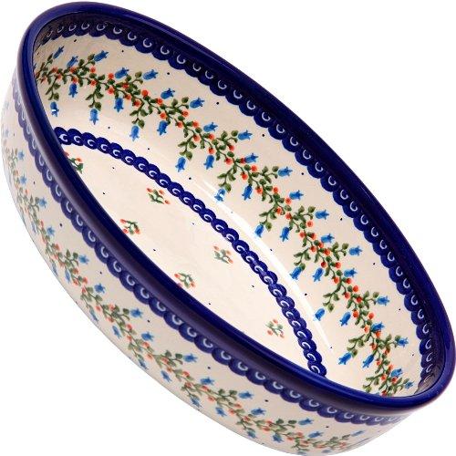 Polish Pottery Ceramika Boleslawiec-1210/166 9-2/3 by 6-7/10-Inch Oval Mirek Baker 2, Royal Blue Patterns