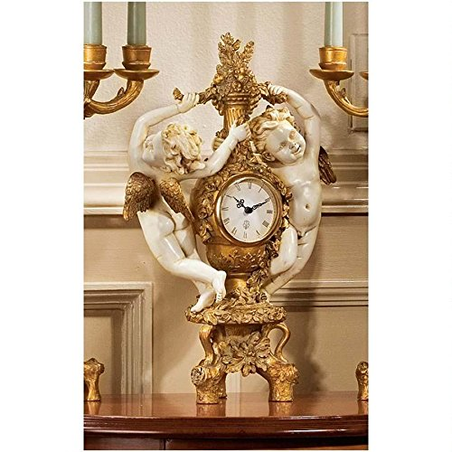 Design Toscano PD2011 The Cherub's Harvest Clock in Ivory and Antiqued Faux Gold