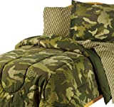 Camouflage Grid Boys Reversible Full Comforter Set (7 Piece Bed In A Bag)