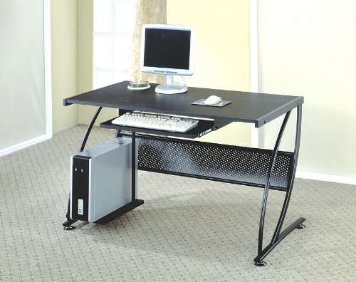 Buy Low Price Comfortable Modern Style Perforated Design Black Finish Metal Computer Desk (B000V51WLU)