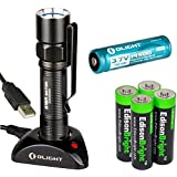 Olight S15R Baton rechargeable XM-L 280 Lumens LED Flashlight EDC with type 14500 Li-ion battery, charging base and four EdisonBright AA alkaline back-up Batteries