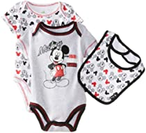 Disney Baby-Boys Newborn Mickey 2 Pack Creeper Bib Layette, Gray, 6-9 Months