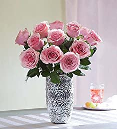 Pink Roses, 12-24 Stems 12 Stems with Embossed Silver Vase by 1-800 Flowers