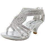Angel-37K Little Girl Mid Heel Rhinestone Pretty Sandal Dress Shoes Silver 4M Big Kid