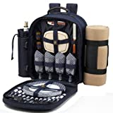 Picnic at Ascot Classic Backpack for 4 with Blanket, Navy/Gingham