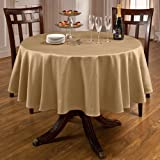 Round Tablecloth (Butter) Spill-proof 70-inch. This Water Proof Table Topper Is a Classic. Amazing Quality. This Polyester Table Cloth Fit's for Any Casual or Formal Setting. Rosedale Round Table Linens Are 2nd to None. Fit's a 70 in Table Cloth.