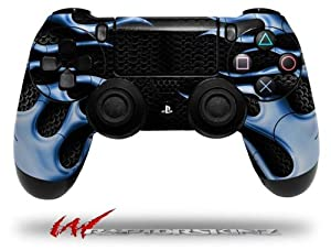 Metal Flames Blue - Decal Style Wrap Skin fits Sony PS4 Dualshock 4 Controller - CONTROLLER NOT INCLUDED