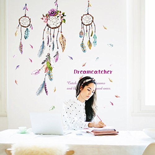 WDA Campanula Feather Wall Decals Dreamcatcher Wall Stickers PVC Removable Wall Decor for Nursery Room Living Room Bedroom Murals
