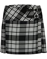 Ladies Womens Tartan Pleated Billie Kilt Skirt Leather Buckled Straps UK 6-16