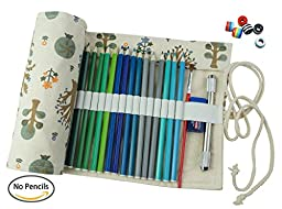 CreooGo Canvas Pencil Wrap, Pencils Roll Pouch Case Hold For 48 Colored Pencils ( Pencils are not included )-Sapling,48 Holes