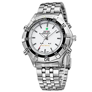 Mens Sport Watch Silver Metal Bracelet White Dial Analog Digital LED Dual Time WH-133