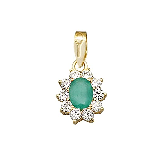 18k gold oval pendant emerald center stone 7x5mm. [AA4820]