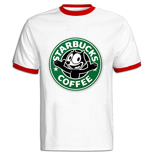 NINJOE Men's Classical Coffee Cute Cat Running Short T-shirt Red XL (Nike Shoes Ninja Turtles compare prices)