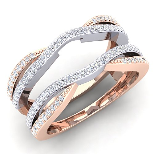 050-Carat-ctw-10K-White-Rose-Gold-Two-Tone-Diamond-Wedding-Band-Guard-Double-Ring-12-CT-Size-75