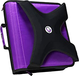 Case-it X-Hugger 2-Inch Round Ring Zipper Binder with Book Holder on Front, Purple, X-351-PUR