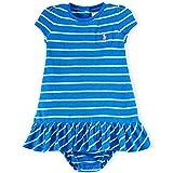 Ralph Lauren Baby Mädchen Sommer Kleid + Unterhose blau grün gestreift mit eingesticktem Polo Reiter Markenlogo 62