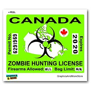 Canada canadian zombie hunting license permit for Bc fishing license