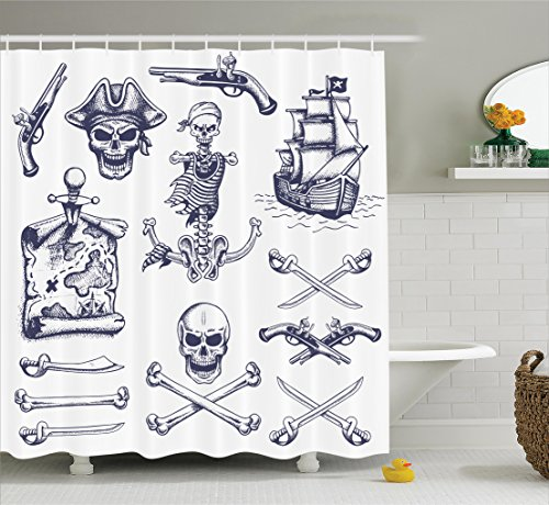Shower curtain 84 inches extra long navy and pirate skull dagger