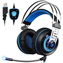 SADES A7 7.1 Virtual Surround Sound USB Gaming Headset With Microphone Intelligent Noise Cancelling LED Light...