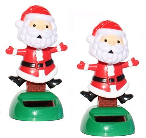 A pair 2014 New Version ~ Santa Claus on the Chimney Christmas Solar Toy - 1