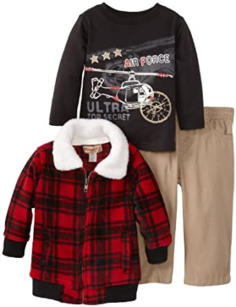 Kids Headquarters Baby-boys Infant Plaided Jacket with Tee and Pants, Red, 18 Months