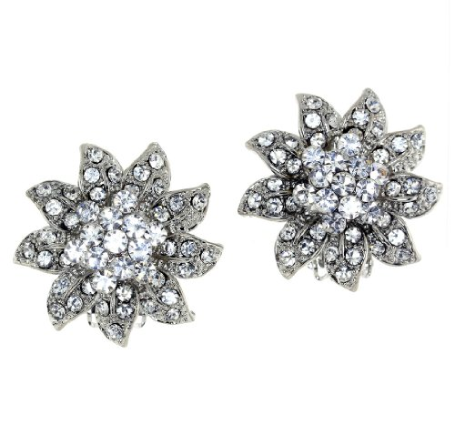 Diamond Accent Crystal Cluster Flower Clip-on Earrings