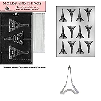 Flat Eiffel Tower Chocolate Mold AND Eiffel tower cookie cutter With © Candy Making Instruction -