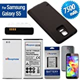 Mbuynow® 7500mAh High Capacity Extended Battery for Samsung Galaxy S5 SM-G900 GT-i9600 with Back Cover (Battery+Khaki Back Cover)