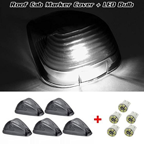 Partsam 5pcs Smoked Roof Running Light Cab Marker Cover Lens+5Pcs T10 6-3020-SMD White LED Bulb for 2000-2015 Ford F-250 F-350 F-450 (Smoked Cab Lights F150 compare prices)