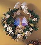 """15"""" Dia Cordless Lighted Fiber Optic Holiday Christmas Wreath Wall Hanging Decoration"""