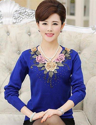 ZY/ Pullover Da donna Manica lunga Taglie forti Lavorato a mano Medio spessore , royal blue-3xl , royal blue-3xl