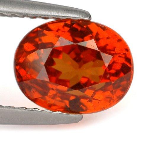 Gems Royal 3.1 Ct. Natural Vivid Orange Mandarin Garnet Gem : 8.46 x 6.64 x 5.76 mm.