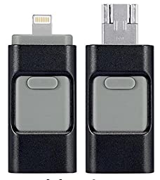 Mobile USB Flash Drive with Lightning Connector 3 in 1 socket for iPad 4/Air/Mini, iPod Touch 5, iPhone 5 5S 5C 6 6 Plus,Android system (16GB, Black)