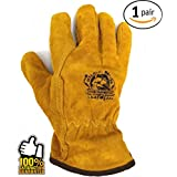 Work Gloves Men ? FOR WORKING, WOOD CUTTING, MECHANIC, GARDENING, DRIVING, WELDING ? LEATHER GAFFER GLOVES ? HAND HEAVY DUTY LEATHER GLOVES TO PROTECT HANDS FROM SCRATCHES, INJURIES, CUTS ? Protection
