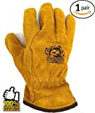 Work Leather Gloves ★ for Men, Working, Wood Cutting, Mechanic, Gardening, Driving, Welding ★ Heavy Duty Gloves to Protect Hands from Scratches, Injuries ★ Leather Working Gloves ★ Winter Work Gloves