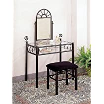 Sunburst Design BLACK VANITY SET - Table Mirror and Bench