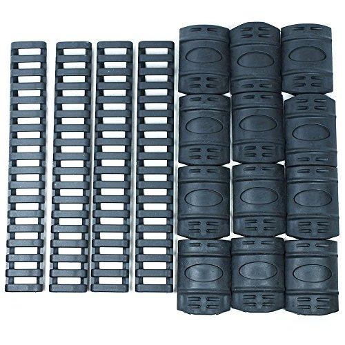 Black Quad Rail Cover Set - 12 PCS Snap on Covers + 4 PCS 7